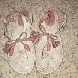 Anthropologie Leather Tassel Sandals